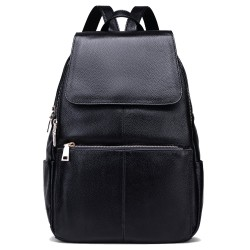 Casual Women Real Genuine Leather Backpack Black