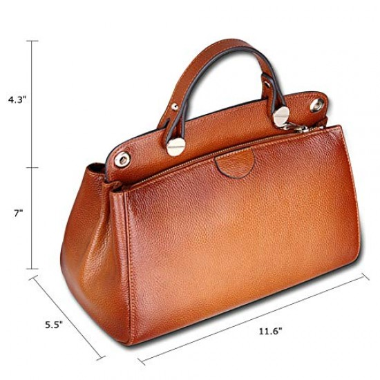 Genuine Leather Designer Handbag for Women Doctor Style Top-handle Tote Cross Body Shoulder Bag Brown