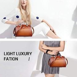Genuine Leather Designer Handbag for Women Doctor Style Top-handle Tote Cross Body Shoulder Bag Brown
