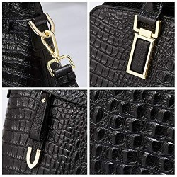 Genuine Leather Top-Handle Bags for Women Full Grain Cowhide Embossed Crocodile Purse and Handbags Black