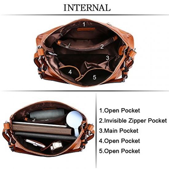 Womens Hobo Genuine Leather Shoulder Bag Top-handle Handbag Ladies Purses