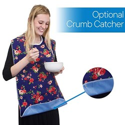 """3 Pack Adult Bib Washable Reusable Waterproof Clothing Protector with Optional Crumb Catcher and Vinyl Backing 31""""X17.3"""" (Butterfly/Blue Rose/Heritage)"""
