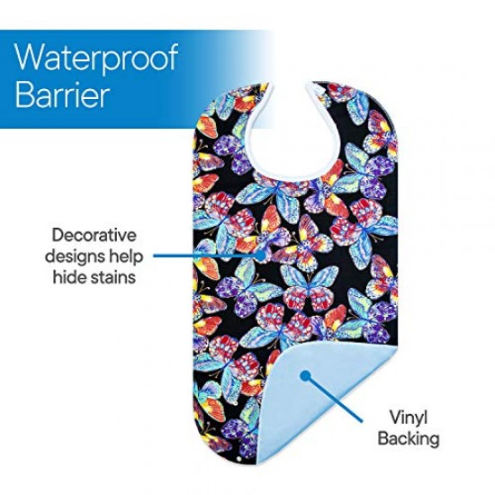 "3 Pack Adult Bib Washable Reusable Waterproof Clothing Protector with Optional Crumb Catcher and Vinyl Backing 31""X17.3"" (Butterfly/Blue Rose/Heritage)"