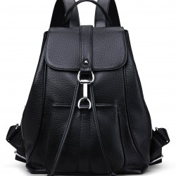 New Women Real Genuine Leather Backpack Purse vintage SchoolBag (Black)