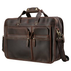 "Men's 17"" Full Grain Leather Messenger Bag for Laptop Briefcase Tote with YKK Metal Zipper Brown"