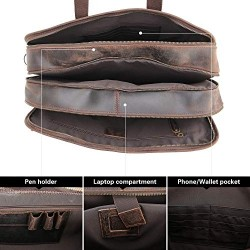 """Men's 17"""" Full Grain Leather Messenger Bag for Laptop Briefcase Tote with YKK Metal Zipper Brown"""