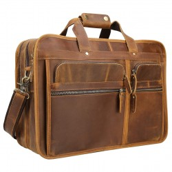 Men's Solid Full Grain Cowhide Leather Large 17 Inch Laptop Briefcase Messenger Bag Tote Brown