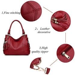 Genuine Leather Top Handle Satchel Handbag Tote Tassel Shoulder Bag Purse Crossbody Bag for Women Red