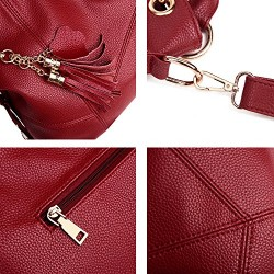 Genuine Leather Top Handle Satchel Handbag Tote Tassel Shoulder Bag Purse Crossbody Bag for Women Red