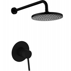 "Matte Black Wall Mounted Rain Shower System with 8"" Round Rainfall Shower Head Solid Brass Shower Set"