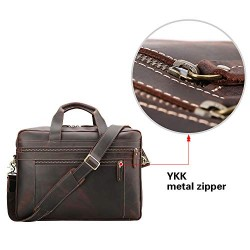 Full Grain Leather Men's 17'' Briefcase Laptop Business Bag Brown