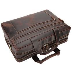 Full Grain Leather Men's 17'' Briefcase Laptop Business Bag Brown