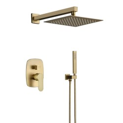 Brushed Gold Brass Shower Faucet Bathroom Rain Mixer Combo Set,10 Inch Brass Rainfall Shower Head Wall Mount System,Contain Rough-in Shower Valve Body and Trim