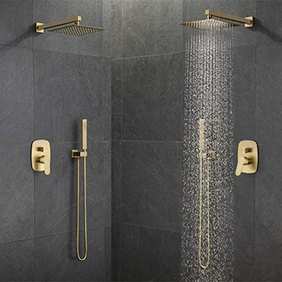 Brushed Gold Brass Shower Faucet Bathroom Rain Mixer Combo Set 10 Inch Brass Rainfall Shower Head Wall Mount System Contain Rough In Shower Valve Body And Trim