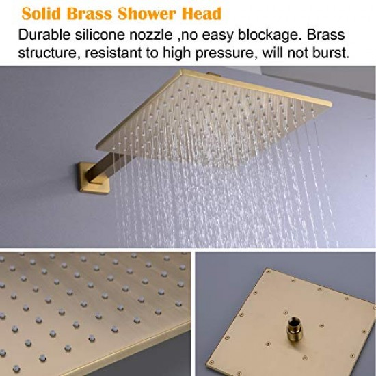 Shower Faucet 12 inch Bathroom Rain Mixer Combo Set Wall Mounted Rainfall Shower Head System Brushed Gold