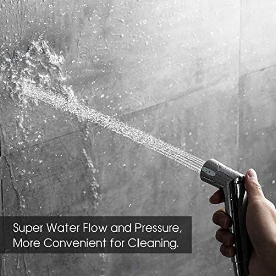 Bidet Sprayer Set Shattaf Baby Shower Cloth Diaper Spray Attachment Control (Including T-Valve) Chrome Finish
