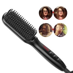 Enhanced Hair Straightener Brush by MiroPure, 2-in-1 Ionic Straightening Brush with Anti-Scald Feature, Auto Temperature Lock & Auto-Off Function (Black)
