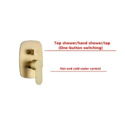 Brass Brushed Gold 12 Inch Wall Mount Rainfall Shower Faucet System Mixer Set Brushed Gold