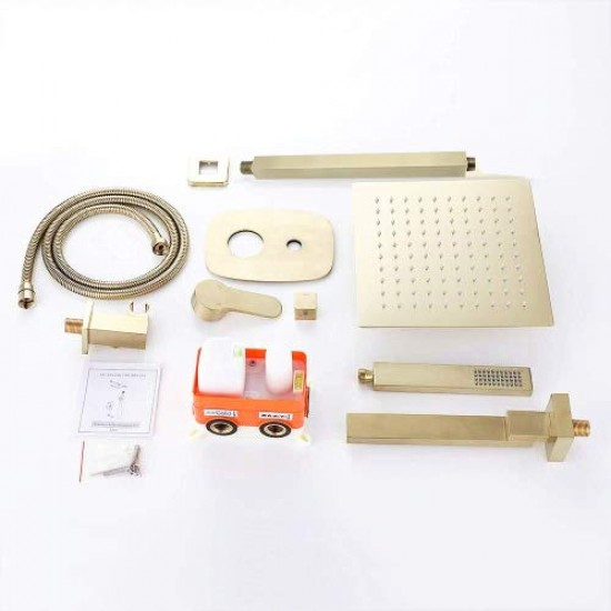 Bathroom Brass Ceiling 12 Inch Rainfall Shower Faucet System Mixer Set (Ceiling Mount, Brushed Gold)