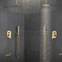 Brass Brushed Gold 12 Inch Ceiling Mounted Rainfall Shower Faucet System Mixer Set Brushed Gold