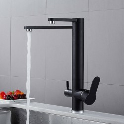 Brass Drinking Water Kitchen Faucet 3 Way Water Filter Purifier Kitchen Mixer For Swivel Sink Taps,Black