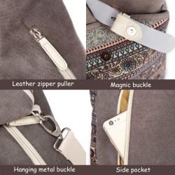 Womens Backpack Purse Canvas Purse 3-Way Crossbody Bag Boho Shoulder Tote Bags Girls (Grey - bohemian)
