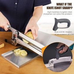 Manual Meat Bone Cutter Household Meat Slicer , Food Grade Stainless Steel Meat Cutter Slicing Machine for Home Cooking Cutting Whole Chicken Fish Jerky Ribs Herbs Fruits Vegetables