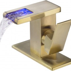 Bathroom Sink Faucet with 3 Colors Changing LED Waterfall Spout, Brushed Gold Single Handle Faucet with Deck Plate, Brass Body Lavatory Faucet with Supply Hose (Brushed Gold)
