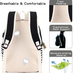 Canvas Backpack, School Backpack for Teen Girls/Women, Cute College Bookbag Set Shoulder Bag Lunch Bag Pencil Bag, Black