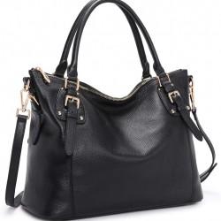 Women's Genuine Leather Handbags Shoulder Tote Organizer Top Handles Crossbody Bag Satchel Designer Purse Large Capacity (Black)