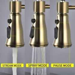 Brass Kitchen Faucet High Arc Spring Kitchen Sink Faucet with Sprayer Single Handle Hole Pull Down Bar Sink Faucet Brushed Gold