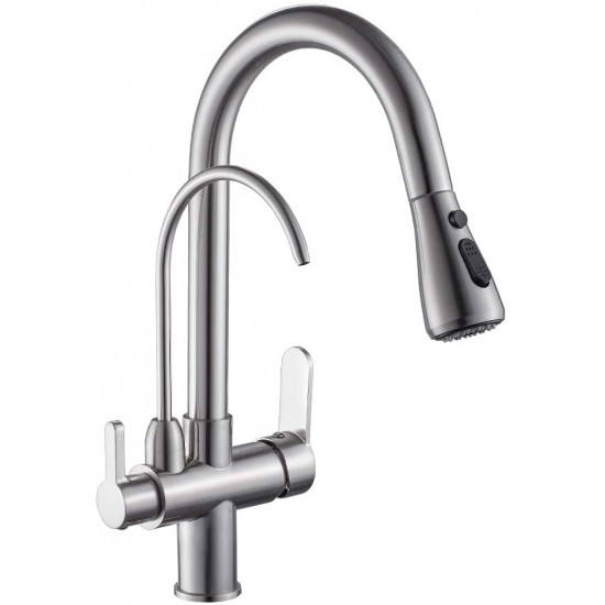 Kitchen Sink Faucet with Pull Down Sprayer 2 Handle 3 in 1 Water Filter Purifier Faucets Black