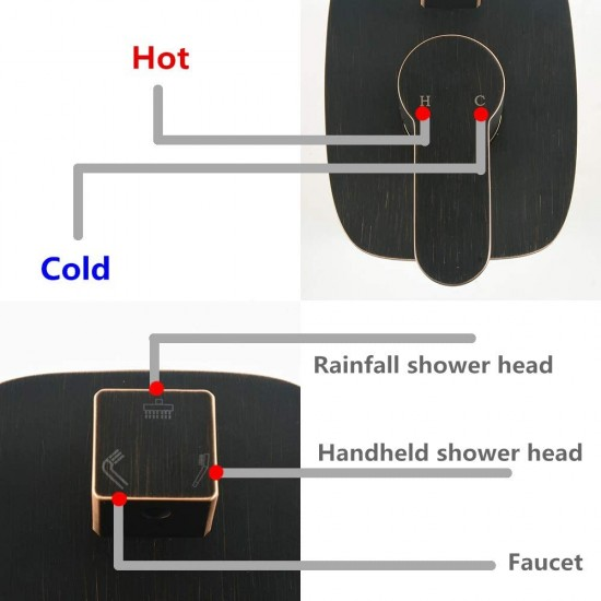 Black Oil Rubbed Bronze Ceiling Shower System 10 Inch Rainfall Shower Head And Handheld Shower Faucet Mixer Set