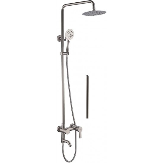 Outdoor Shower Faucet, Stainless Steel Bathroom Set 7.9 Inch Round Rainfall Wall Mount Triple Function,Extension Adjustable Shower Bar 3 Function Matte Black