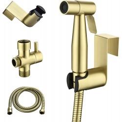 Handheld Bidet Sprayer for Toilet, Stainless Steel Baby Cloth Diaper Sprayer Kit, Bathroom Toilet Bidet Attachment Set for Bathing Pets Feminine Hygiene, Brushed Gold