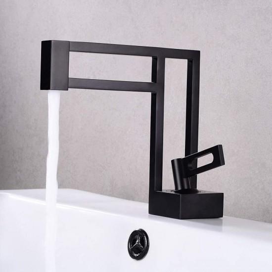 Single Handle Black Geometric Bathroom Sink Faucet Single Hole Solid Brass Architectural Design