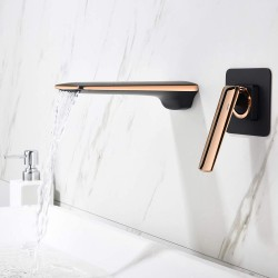 Wall Mounted Faucet ,Waterfall Faucet Matte Black Rose Gold Mixed Finish,Single Handle Brass Bathroom Faucet ,Sink Faucet, Split Solid Brass Handle Basin Faucet