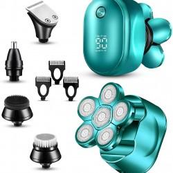 Head Shavers for Bald Men - 5 in 1 Electric Razor for Men - LED Display Shavers for Men - Multifunctional Bald Head Shaver Cordless Grooming Kit - Waterproof Electric Shavers Men