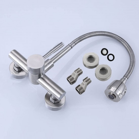 """Wall Mount Kitchen Faucet One Handle 6"""" inch Center Commercial Sink Faucet with Stainless Steel Constructed Brushed Nickel Finish Commercial Kitchen Sink Faucet"""