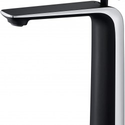 Black and Silver Bathroom Faucet Tall Faucet,Copper Vessel Sink Faucet,Matte Black and Chrome Bathroom Sink Faucet,Single Handle Single Hole Cold and Hot Water Mixer Vanity Sink Tap