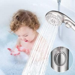 Shower Head, High Pressure 6 Setting Shower Head Hand-Held with ON/OFF Switch and Spa Spray Mode - Shower Heads with Handheld Spray High Pressure - Brushed Nickel