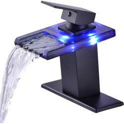 LED Light Bathroom Sink Faucet, 3 Colors Changing Waterfall Glass Spout Faucet, Single Handle Single Hole Cold and Hot Water Mixer Vanity Sink Tap (Matte Black)