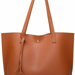 Women's Soft Faux Leather Tote Shoulder Bag, Big Capacity Tassel Handbag