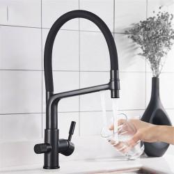 Filter Faucet Kitchen Faucets Dual Spout Filter Faucet Mixer 360 Degree Rotation Water Purification Feature Taps