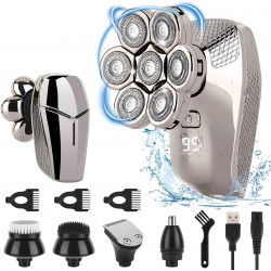 7D Electric Razor for Men, 5 in 1 Head Shavers for Bald Men Electric Rotary Razor Beard Trimmer Grooming Kit Waterproof Cordless Electric Shavers USB Rechargeable
