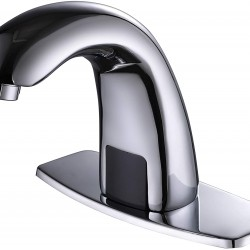Automatic Sensor Touchless Bathroom Sink Faucet with Hole Cover Plate, Chrome Vanity Faucets, Hands Free Bathroom Water Tap with Control Box and Temperature Mixer