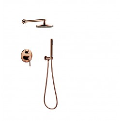Rose Gold Finish Solid Brass Shower Diverter Valve Faucet Set with 8 Inch Round Shower Head Bathroom Wall Shower Kit