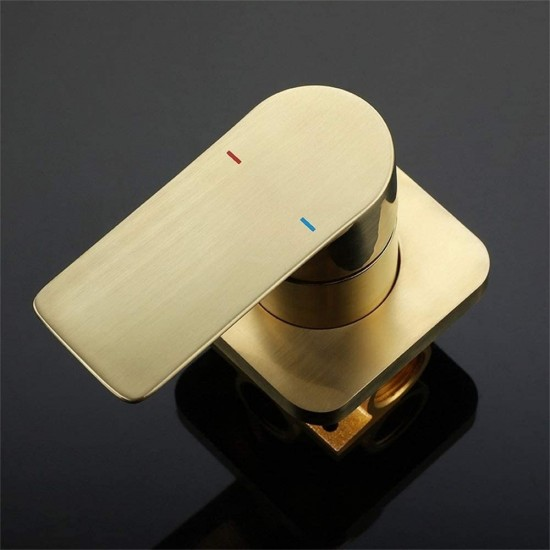 Brushed Gold Waterfall Bathroom Sink Faucet 1- Handle Wall Mount Lavatory Faucet Mixer Tap Solid Brass