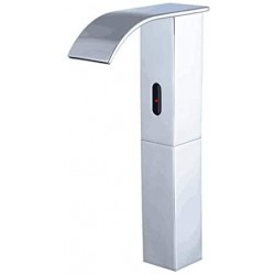 Automatic Faucet Square Tall Body Touchless Sensor Waterfall Bathroom Sink Vessel Faucet