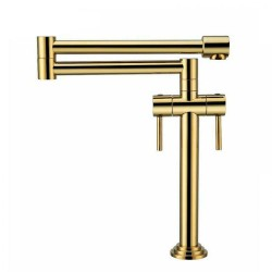 Gold Faucet Kitchen Bathroom Sink Faucet Slotted Basin Sink Hot Cold Taps Mixer Basin Brass Sink Mixer Taps Full Copper